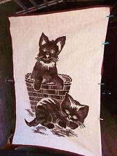 Vintage Wolldecke Sofadecke Schlafdecke 60-70er Jahre DDR*205 x 150  Katzen RAR