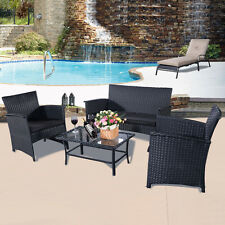 Outdoor Patio 4 PCS PE Rattan Wicker Table Sofa Furniture Set Garden Yard B