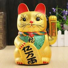 "8"" Golden Fengshui Waving Cat Fortune Beckoning Wealth Prosperity Lucky Kitten"