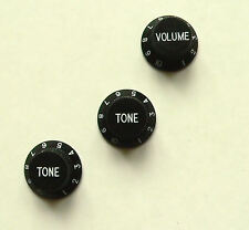 Black tone and volume knob set for Fender Stratocaster and other Strat guitars