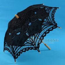 "25"" Kids Black Handmade Cotton Lace Umbrella Bridal Wedding Parasol Party Decor"
