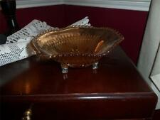 JEANNETTE GLASS MARIGOLD IRIDESCENT ANNIVERSARY 3 FOOTED CANDY BOWL