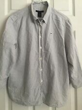 The Limited Women's 3/4 Sleeve Sz. Large Gray Striped Shirt Blouse Cotton
