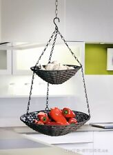 Elegante Hänge Etagere aus Polyrattan im Landhausstil Hängekorb Obstkorb Küche
