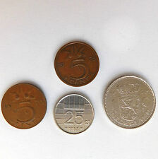 4 Dutch coins 1970s 1980s Juliana Beatrix money 1970 1973 1985 Guilder Holland