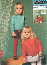 Vintage  Patons Knitting Pattern No2012  Jumper & Cardigan in DK  Size 20-24in