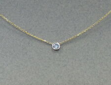 Diamond Solitaire Bezel Set Necklace 14k Yellow Gold 0.20ct SI1 G-H color