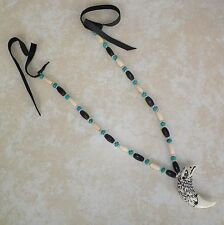 Native American Eagle Necklace Bone Turquoise Silver Beads Regalia Pow Wow