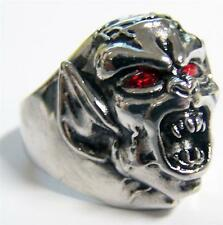 DEMON MONSTER RED EYES STAINLESS STEEL RING size 10 - S-544 biker  MENS womens