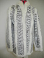Amazing Real Fur Ivory White Cream Silver Grey Mink short coat jacket