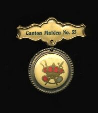 1890s Celluloid Medalion Pin IOOF, Canton Malden No. 55, Massachusetts Whitehead