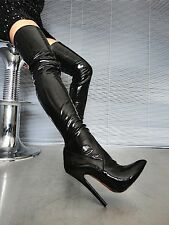 MORI OVERKNEE EXTREME HEELS ITALY STIEFEL BOOTS STRETCH LEATHER BLACK NERO 43