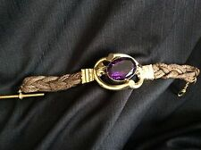Victorian Mourning Bracelet Hair Pinchbeck? Rolled Gold ? Huge Amethyst Glass