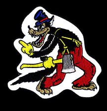 Big Bad Wolf Patch Middle Finger Cartoon Rockabilly Novelty right