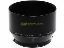 Nikon F paraluce per 105 mm. f2,5 e 135mm. f3,5. Innesto a molla 52mm.