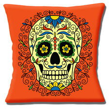 """Retro Kitsch Mexican Sugar Skull Day of the Dead Orange 16"""" Pillow Cushion Cover"""