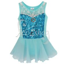 Girls Gymnastics Lace Ballet Leotard Skirt Dance Fancy Tutu Fairy Costume Dress