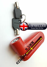 RED MOTORCYCLE SCOOTER MOTORBIKE BICYCLE DISC BRAKE DISK SECURITY LOCK 2 KEYS
