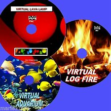 VIRTUAL FISH TANK LOG FIRE & LAVA LAMP 3 RELAXING DVDs FOR FLAT SCREEN TV NEW