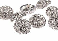 DB18-17S 10pcs Diamante Faceted Crystal Buttons Diamante Silver Rhinestone