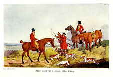 FOX HUNTING, FOX HUNTERS & SPRINGER SPANIELS DOGS KILL THE FOX, ANTIQUE  PRINT