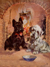 DANDIE DINMONT & SCOTTISH TERRIER BY FIRESIDE CHARMING DOG GREETINGS NOTE CARD
