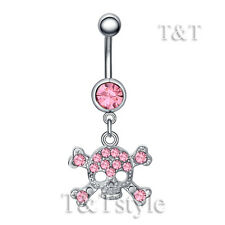 TTstyle Crystal Skull Dangle Belly Button Ring Choose Colour
