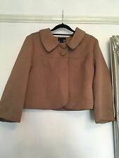 H&M WOMEN'S BROWN CROP JACKET WITH COLLAR SIZE M