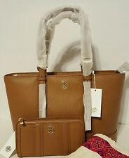 TORY BURCH LANDON PEBBLED LEATHER TOTE AND CONTINENTAL WALLET BARK