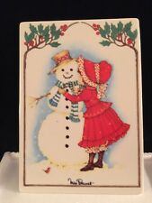 Villeroy Boch VILBO Card SNOWMAN Miss Petticoat Porcelain Art WEST GERMANY