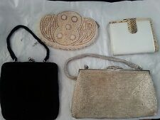 LOT OF 4 VINTAGE SMALL CLUTCH HANDBAGS  & WALLET    (BIN A-1)