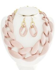 Designer Inspired Chunky Dusty Pink Acrylic Chain Statement Necklace Set