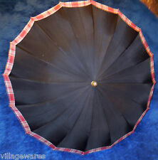 1940s Bordered Umbrella with Classic Gold and Black Plastic Handle and Wood Stem