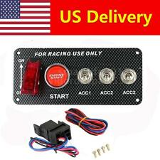 Car Ignition Switch 12V Engine Start Push Button 3 Toggle Racing Panel US F8X6