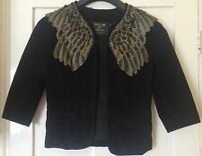 Kate Moss Topshop Black Wings Suede Jacket Size 10 uK
