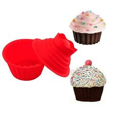 Red Silicone Big Jumbo Giant Top Cup Cake Mould Molds Pan Bakeware Baking Set t