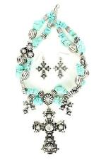 Blazin Roxx Silver Antique Rhinestone Cross Turquoise Chunky Necklace Set 30112