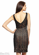 Sz 2 * SUE WONG Embroidered ILLUSION Sheer Overlay Dress Black Nude GATSBY $418