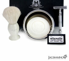 Shaving Set Silver Double Edge Safety Razor Natural Shaving Brush Arko Soap Bowl