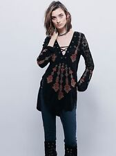 102216 Nw Free People Charlie Embroidered Embellished Crochet Black Tunic Top M