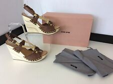MIU MIU Wooden Heels Shoes Size 36 Uk 3  Vgc Worn Once Boxed & Dust bags Brown