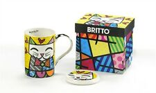 ROMERO BRITTO BONE CHINA MUG WITH LID- CAT DESIGN