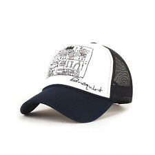 Mens Womens Basquiat graffiti Mesh Baseball Cap Trucker Snapback Hats NAVY