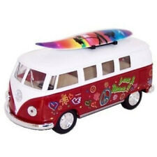 Kinsmart 1962 Volkswagen Classical Bus 1:32 with Surfboard and Decals Red