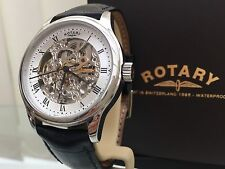 Rotary Mens Watch Skeleton Automatic Watch RRP £210 Black Leather Strap Box(R39)