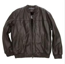 Men's Outerwear Winter Brown nappa Leather Bomber Jacket Zip-out liner size M L