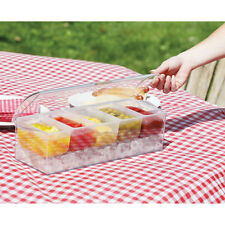 Ice Chilled Cooled Condiment Server Caddy - Covered Clear Plastic