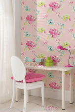 Pink & Multi-Coloured, Crayon-Drawn Floral Design, Girls Bedroom Wallpaper