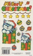 MEOWY CHRISTMAS CAT BAUBLES E-Z RUB ON TRANSFERS ACID FREE CARD MAKING GRE318 xx