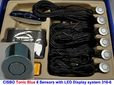 CISBO Tonic Blue Front Reverse Parking 6 Sensor Kit Buzzer Alarm LED Display